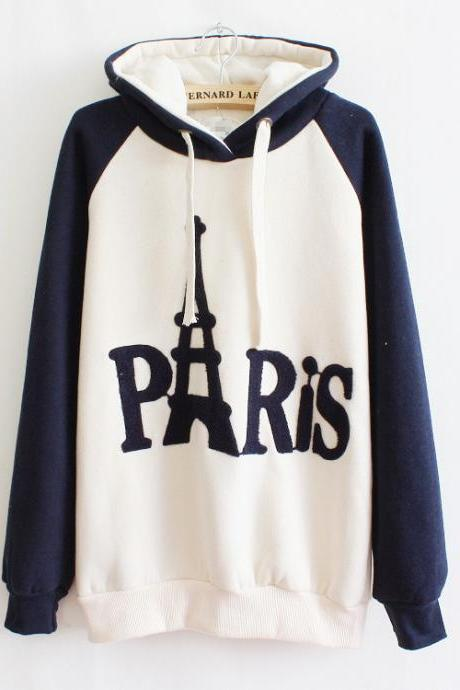 Fashion Paris Tower Letter Hoodie Sweatshirt