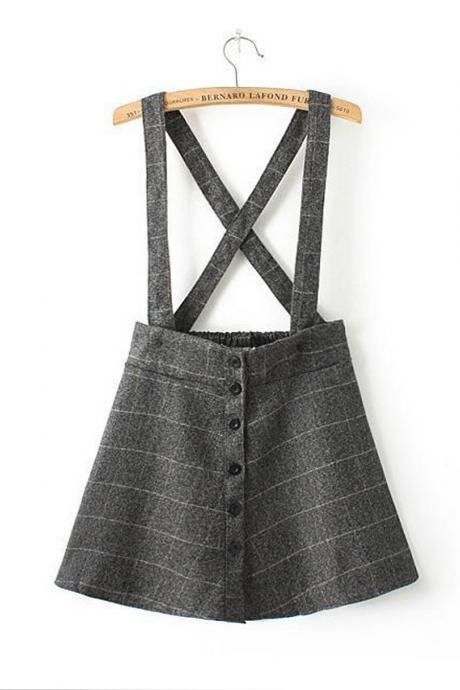 Button Front A-line Suspender Skirt