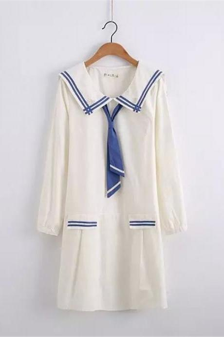 Free shipping Japanese girl school of fresh Navy tie loose long sleeve embroidery dress