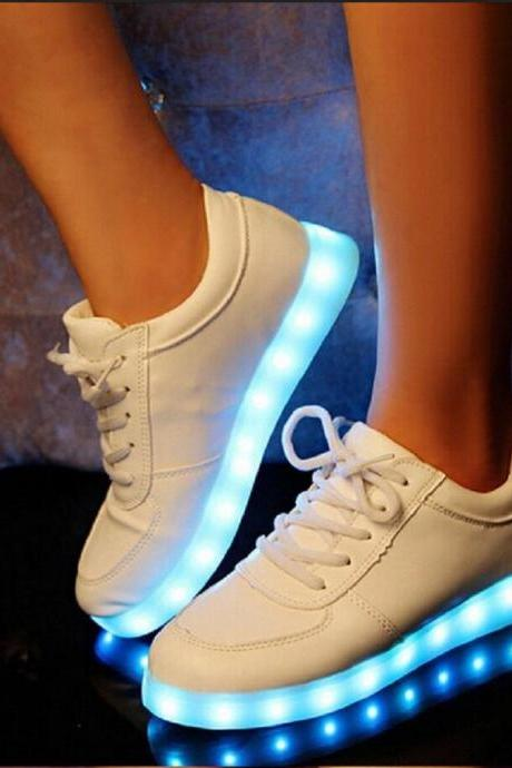 Colorful glow luminous shoes the shoe lovers LED unisex USB rechargeable light for men women flat shoes 2015 Brand New