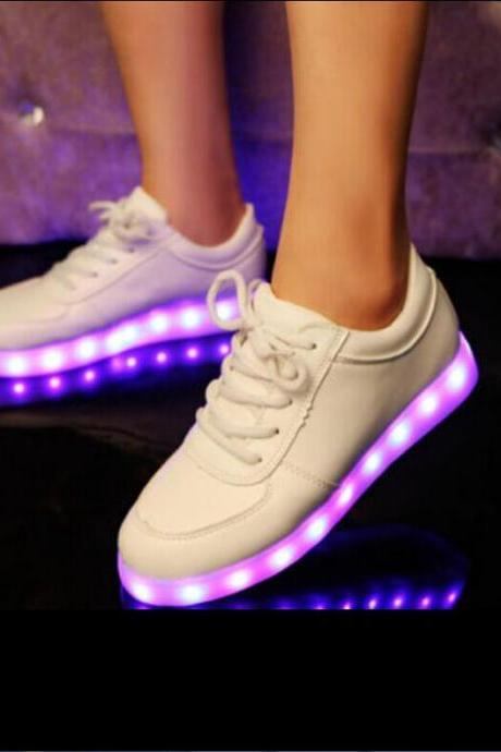 2015 new design Colorful glow luminous shoes the shoe lovers LED unisex USB rechargeable light for men women flat shoes