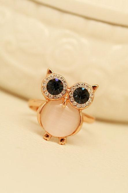 Cute lovely Owl Opal Opening Animal Ring for girl