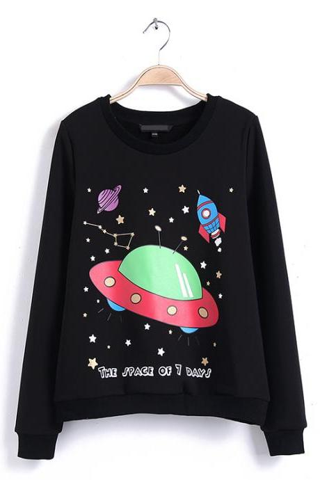 Rocket Space Stars Print Round Neck Sweater