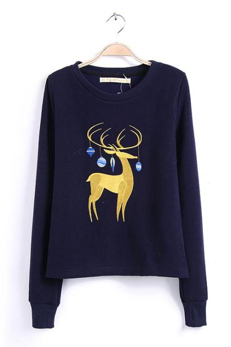 Long Sleeve Christmas Sweater Featuring Embroidered Reindeer