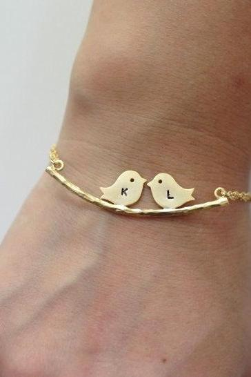 Two Birds On The Branch Bracelet,Two Love Birds Initial Bracelet Branch Bracelet,Couple Kissing Love Birds Personalized Bracelet