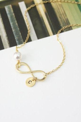 Infinity Necklace Initial Charm Personalized Initial Necklace Best Friend Necklace Initial Jewelry Swarovski Pearl