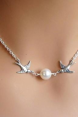 New Fashion Pearl Bird Shape Silver Pendant Necklace(1 Pc) for 2016 Valentine's Day and mother's Day