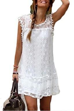 2016 new fashion women white lace mini dress casual o-neck short sleeve patchwork tassel dresses