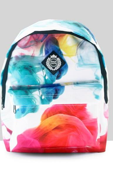 Multicolor Smoke Design Canvas Backpack