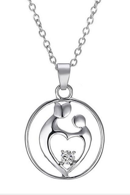 2016 New Mother's Day mom CZ Pendant Necklace