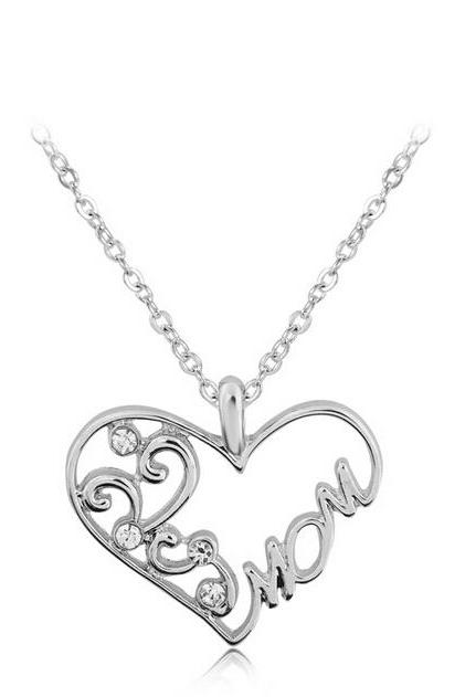 2016 new fashion Europe and America love to mom for Mother's Day gift diamond necklace