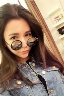 2016 New fashion cute summer Lennon Inspired Medium Round Circle Metal Sunglasses