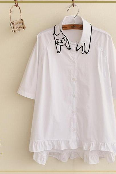 2016 summer Cat Embroidered Short Sleeve t-Shirt for women