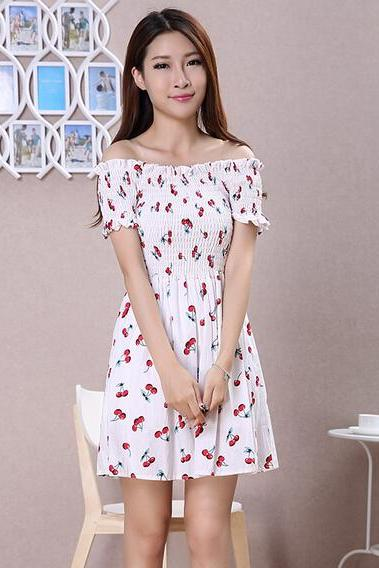 2016 summer new fashion sweet women floral strapless collar Slim dress