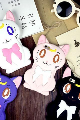 Fashion 3D bows cat Luna mobile phone shell protective cover for Iphone 6s and 6 plus