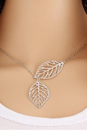 Woman Gold Sliver Two Leaf Pendants multi layer necklace