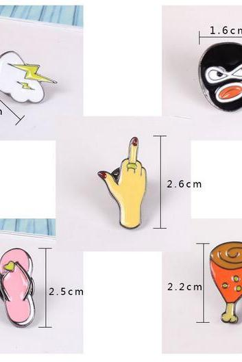 Cute cartoon slippers/gestures/lightning/robbers/chicken brooch for women