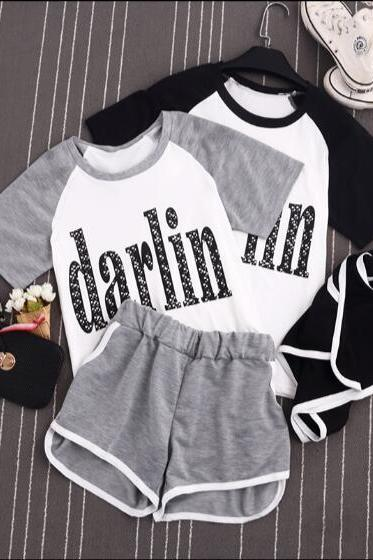 women Summer Two-piece Outfits short sleeve t-shirt