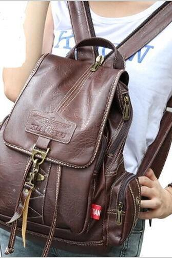 Vintage Brown Button Preppy Backpack School Bag Packsack
