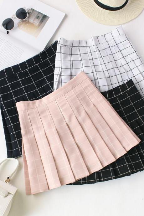 Women Summer high waist silm Bust pleated plaid skirt