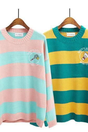 women harajuku candy-colored stripes embroidery badminton racket loose sweater