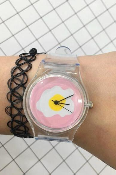 women Fried Egg print Transparent Watch