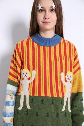 Harajuku Cartoon embroidered Stripes mixed colors Knit Pullover sweater