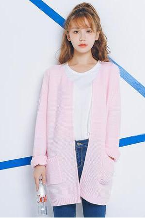 Round Neck Knitted Long Sleeve Cardigan Sweater with Pockets - White, Pink, Blue