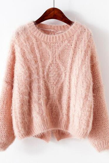 Women Harajuku Plus Size long Sleeve Round Neck Loose Mohair Sweater