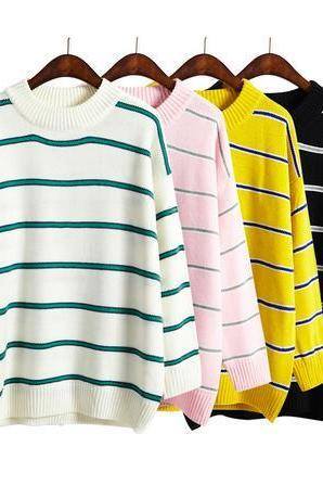 women harajuku striped candy hit colored sweater