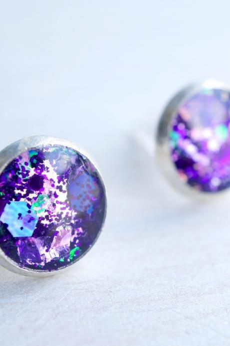 Purple Glitter Silver Stud Earrings