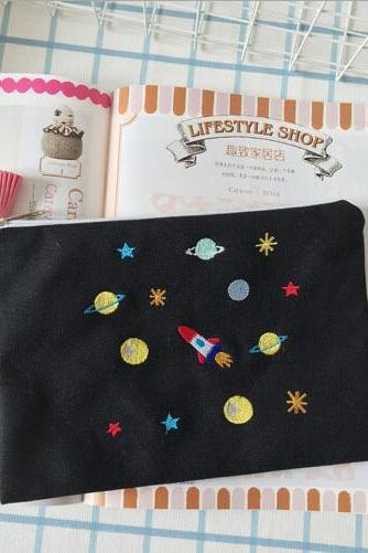 Planets Galaxy Hand embroidery makeup storage bag