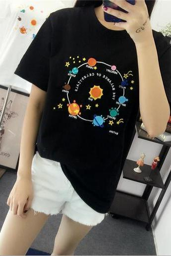 Embroidery planet in the solar system design round collar women T-shirt