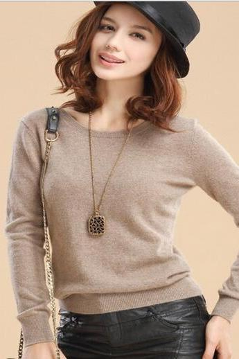 Solid Colors Long Sleeve O-Neck Wool Women Sweaters Pullovers