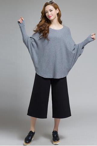 Free shipping knit batwing-sleeved blouse sweater