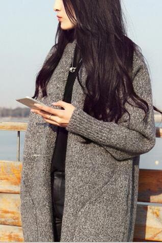 Free shipping long style knit sweater cardigan