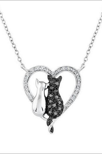 Free shipping Cat Kitty Pendant Necklace Heart Hollow necklace