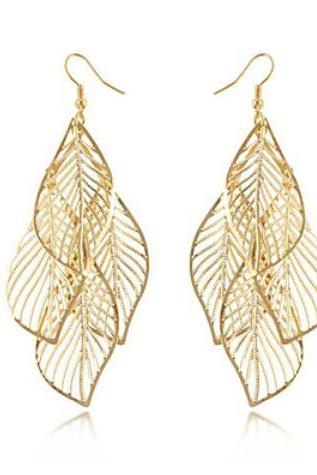 Gold Hollow Leaf Drop Earrings