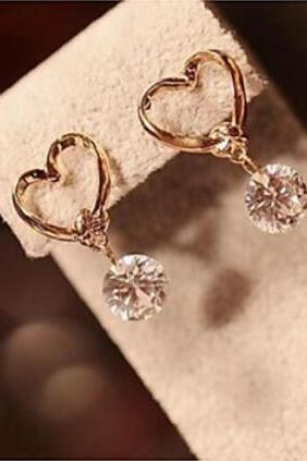 Gold Bowknot Zircon Drpp Earrings