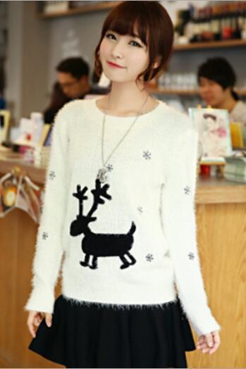 Cute Chrismas reindeer knit mohair sweater