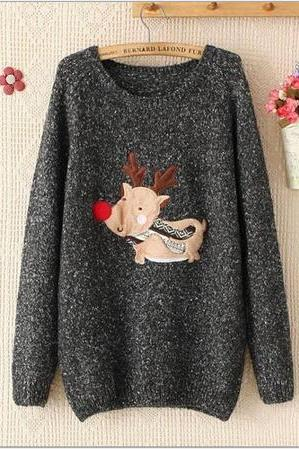Cute Chrismas deer reindeer cloth sticking knit mohair women sweater