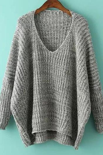 Dark Grey V Neck Batwing Sleeve Dip Hem Oversized Sweater