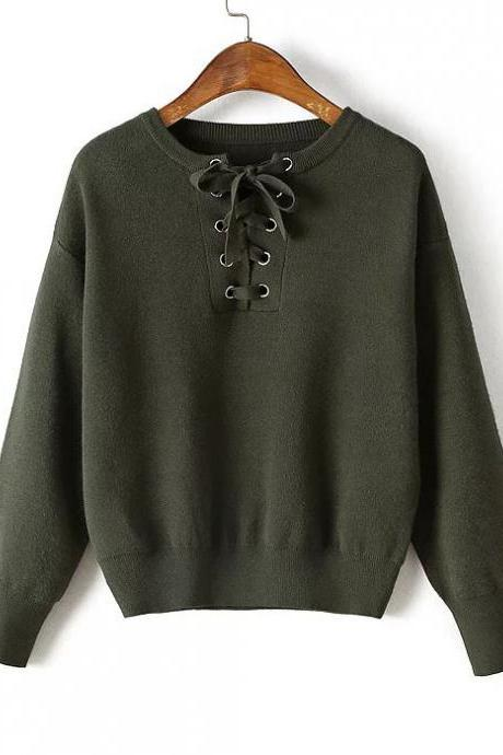 Army Green Lace-Up Front Sweater