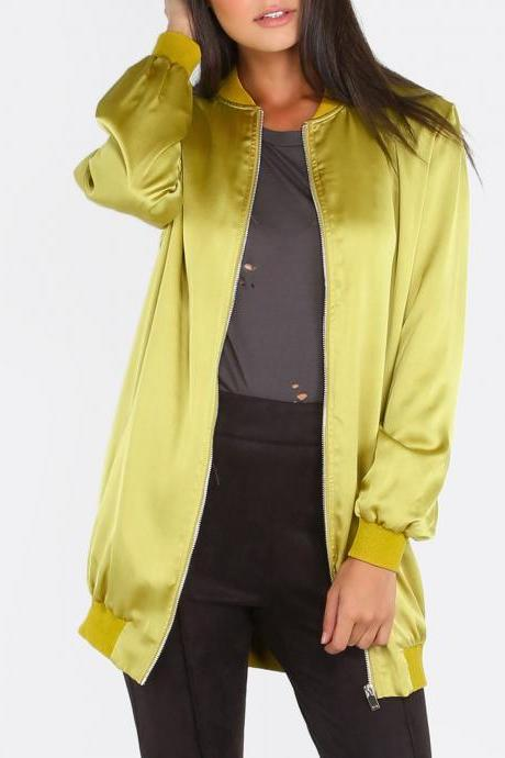 Yellow Ribbed Trim Zip Up Long Satin Bomber Jacket