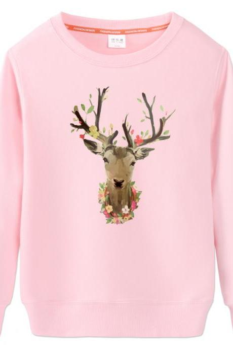Fashion elk printing loose sweater