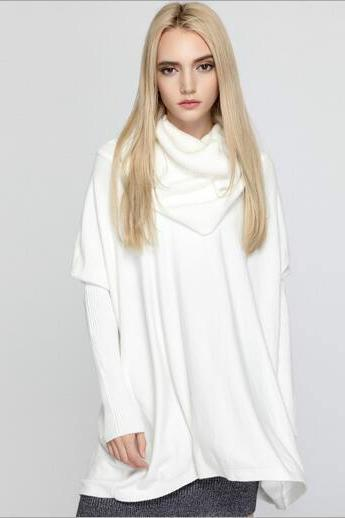 batwing sleeve knit long sleeve sweater