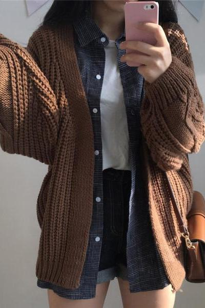 Retro thicker sweater coat