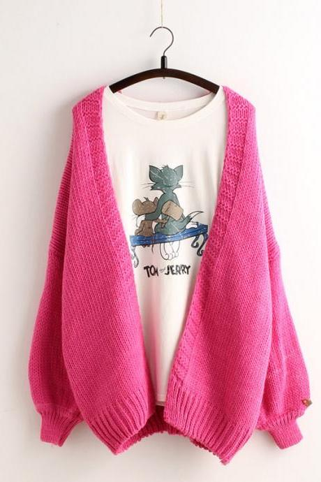 Solid Color Batwing Loose Knit Cardigan sweater