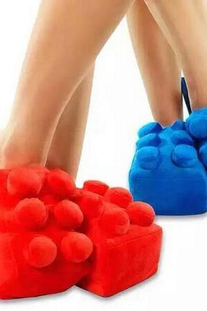 Thick wool cloth lego Blocks slippers