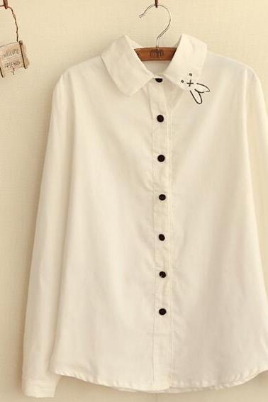 Retro Rubby Collar Long Sleeve Blouse